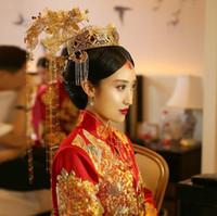 Çin gelin headdress kostüm takı saç tarak Coronet akışı