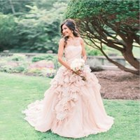 Elegant Strapless Ball Gown Wedding Dresses Ruffle Tulle Gar...