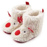 Nueva Navidad Inicio Botas para caminar Niños Recién nacido Infantil Clásico ELK Invierno Súper Cálido Slip-On Suave Cuna para bebé Botines Zapatos