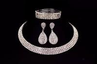 Impressionante sposa classico strass di cristallo collana girocollo orecchini e bracciale set di gioielli da sposa accessori da sposa gioielli da sposa