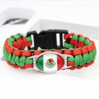 12st Großhandel Beliebte WM Charm Paracord Armbänder Mexiko / Jamaika / Japan / Korea / Schottland / England Flagge Paracord Armbänder