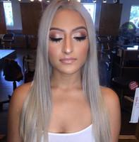 Hot Grey brasileira perucas completas do laço do cabelo humano em linha reta cinza prata Glueless Frente Lace Wigs densidade de 130% com Bleached Nós Grey Wig