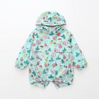Girls Jacket Mint Flower Printed Hooded Windbreaker Baby Girl Coat 2018 Autumn Spring Kids Long sleeves Outerwear Boys Clothes