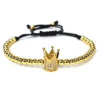 Mode Herren Gold Farbe Imperial Micro Pave Kristall Krone Charm Armband Anil Arjandas Flechten Weave Bead Makramee Armband