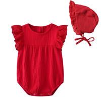 bébé fille vêtements barboteuse ensembles sans manches barboteuse rouge + chapeau 100% coton haute qualité fille bébé barboteuse clother