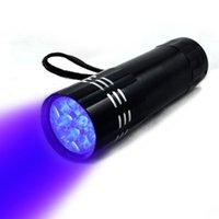 Портативный 9 CREE светодиодный УФ-свет фонарик пешие прогулки Факел алюминиевый сплав обнаружения светодиодные УФ-лампы с коробкой не включены батареи