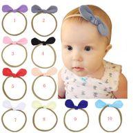 Recién nacido bebé diademas conejito oreja elástica diadema para niños accesorios para el cabello niños lindos lindos bandas para niñas Nylon arco Headwear Headdress 120pc