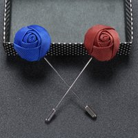 wholesale 50PCS LOT Business Casual Men's Lapel Pins Men's High-end Temperament Brooch Handmade Cloth Rose Brooch for Wedding Party