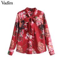 Vadim femmes doux noeud papillon floral chemise à manches longues plissée blouse vintage femme printemps casual chic tops blusas LT2654