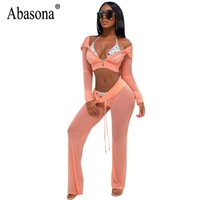 Abasona Mesh Jumpsuits Women Long Sleeve Hoodies Jumpsuit Tw...