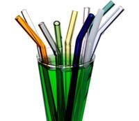 18 cm / 20 cm / 25 cm Reusable Eco Eco Borosilicato Glass Bere cannucce trasparenti Colorato Colorato Bent Straight Latte Cocktail Straw