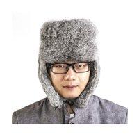 Nuovo inverno Donna Uomo cappello di pelliccia di coniglio cap tutto il  vecchio orecchio-pelliccia Lei Feng Cap cappello caldo ispessimento neve  all aperto ... 283909c8dd24