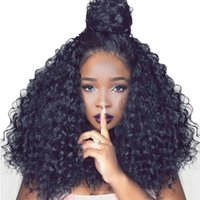 Z&F Afro Black Kinky Curly Tight Wavy Front Lace Wig All Han...