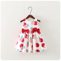 NOVAS meninas vestido Crianças Sem Mangas bolinhas de impressão Bow Design boutique dress causal verão menina dresskids roupas de alta qualidade