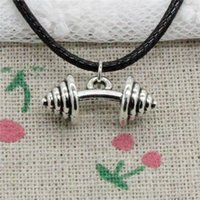 New Fashion Tibetan Silver Pendant fitness equipment dumbbel...