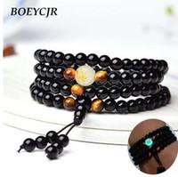 BOEYCJR Dragon Black Buddha Beads Pulseiras Pulseiras Handmade Jóias Étnica Brilhando no Escuro Pulseira para Mulheres ou Homens