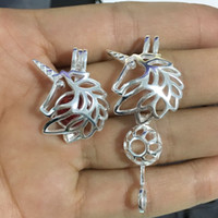 925 Sterling Silver Unicorn Locket Cage Pendant Fitting, Diy...