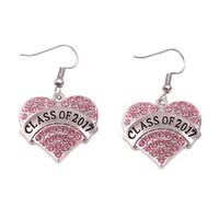 Apricot Fu Class Of 2017 cristallo ornato a forma di cuore ciondolo gancio orecchini scuola anniversario gioielli regalo orecchino