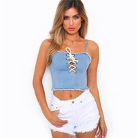 Hot fashion women 2018 denim tank tops sexy sleeveless ladie...