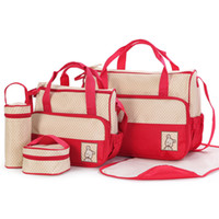 2018 Nueva calidad de alta calidad 5pcs Baby Pañal Bags Sets Multifunción Maternity Nappy Mochila Bolsa de Enfermería Viajes al aire libre S8843