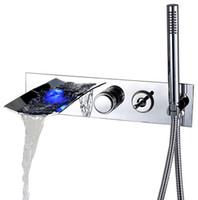 Rolya LED 폭포 벽 마운트 욕조 수도꼭지 물 전원 조명 욕조 믹서 도청 설정 크롬과 함께