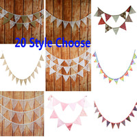 12pcs Banner Flags 2.8-3.2m Lace Pennant Bunting Banner Triangle Shape Hanging Party Wedding Christmas Decor Banners String Flags HH7-1288