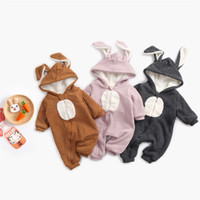 Autumn and winter baby jumpsuit baby hooded jumpsuit cartoon...