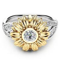 Ganze sale2018 Exquisite Silber Crystal Sunflower Hochzeit Ringe Für Frauen Bijoux Anel Femme Verlobungsring Erklärung Schmuck Liebhaber Geschenke