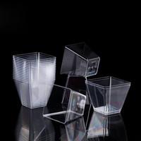 9 унций пластиковый стаканчик 270 мл прозрачный квадратный одноразовые десерт кубок фестиваль свадебные украшения торт мусс желе пудинг Тирамису QW8949