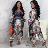 Fashion Floral Print slim suit Tracksuit 2018 Summer Women l...
