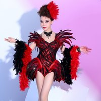 Bodysuit Women Female Singer Stage Dj atmosferiche piume europee e americane Bar Nightclub Night Sexy DS Costume prestazioni