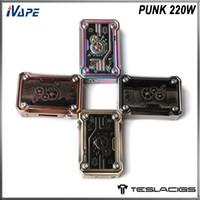 Tesla Punk 220W TC Mod alimenté par le double 18650 Batterie Box Mod Support Atomiseur 25mm avec LED RGB intégré Lumières 100% Original