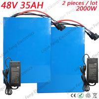 Venta al por mayor 2pcs / lot High Power 2000W batería de bicicleta eléctrica 48V 35AH batería de litio 48V con construido en 50A BMS y cargador