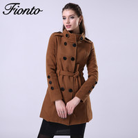 FIONTO 2016 New Women Trench Woolen Coat Winter Slim Double ...