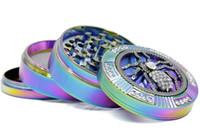 تصميم جديد 4 طبقات قوس قزح اللون سبائك الزنك طاحونة 63 ملليمتر diamanter العنكبوت نمط الجمجمة الضفدع الشكل عشب مطحنة التبغ abrader