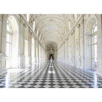 Telones de fondo de la fotografía del palacio de lujo para el estudio Puertas arqueadas impresas Pilares de piedra Fiesta de la boda Fotomatón Fondo Fond Photographie