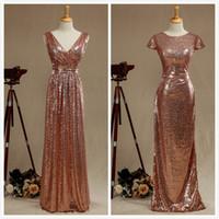Under 70 ros guld sequined två olika stil långa brudtärna klänningar billig lång sexig v-nacke pläterad rackless formell klänning fest vestido de