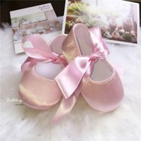Dollbling Luxury Satin Pink Baby Girl Shoes Infant First wal...