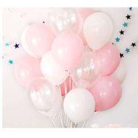 12pcs 핑크 화이트 2.8g 투명한 풍선 라텍스 헬륨 생일 파티 용품 베이비 샤워 웨딩 Decro 공