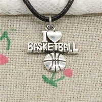 New Fashion Tibetan Silver Pendant i love basketball 21*20mm...