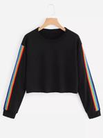 Date Sweatshirts Femmes De Mode Arc-En-Patchwork À Manches Longues À Capuche Sweat À Capuche Pull Tops Crop Blouse Rainure Côté Rayure Chaude