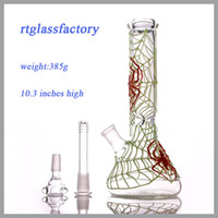 Venda quente taça de vidro Bongs 10,2 '' Glow nos tubos de água de vidro escuro bonita Aranha projetado dab plataformas.