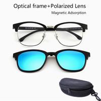 Nieuw Koreaans ontwerp metalen frame gepolariseerde zonnebril met magnetische clip op zonnebril voor mannen en vrouwen magneet Set spiegelglazen