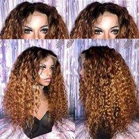 Ombre Kahverengi Balck Kadınlar Için Tam Dantel İnsan Saç Peruk Kadınlar Brezilyalı Remy Saç 1B / 30 # PRECKED Kıvırcık Dantel Ön Peruk