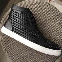 New Mens Womens Black Leather With Black Spikes White Bottom...