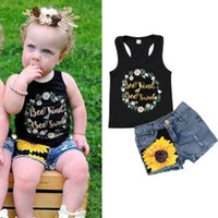 Baby Girl Boutique Clothing Set Black Vest+ Denim Pants Toddl...