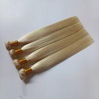 Hohe Qualität brasilianische blonde glatte Haare Weave # 613 mongolische Russisch Golden Farbe kann gefärbt Mensch Remy Doppel Haar werden Einschlagverlängerungen