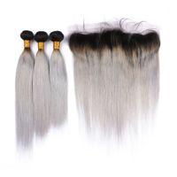 Oferta de paquetes de cabello humano brasileño de Silver Ombre con cierre frontal de encaje 13x4 Straight # 1B / cabello de Virgen gris Ombre teje con frontales