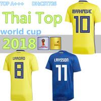 c38b467ce 2018 SWEDEN World Cup HOME KIT IBRAHIMOVIC KALLSTROM Soccer Jerseys 18 Sweden  National Team Jerseys Football shirt