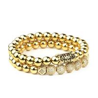2pcs / set micro intarsio zircone rotondo tappo rotondo uomo corona fascino braccialetto perline naturali Braccialetto Buddha per le donne Pulseras Masculina